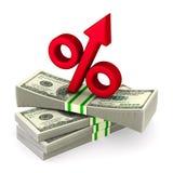 Dinheiro e por cento no fundo branco Ilustração 3d isolada ilustração royalty free