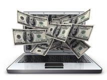 Dinheiro e portátil Fotos de Stock Royalty Free