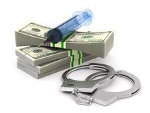 Dinheiro e seringa e algemas no fundo branco Ilustra??o 3d isolada ilustração stock