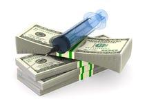 Dinheiro e seringa no fundo branco Ilustra??o 3d isolada ilustração do vetor