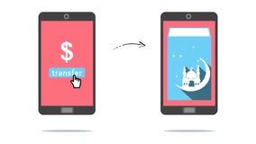 Dinheiro em linha de transferência Imagens de Stock
