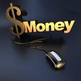 Dinheiro em linha do dólar do ouro Fotografia de Stock Royalty Free