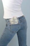 Dinheiro em seu bolso Imagem de Stock Royalty Free