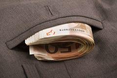 Dinheiro em seu bolso Foto de Stock