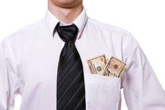 Dinheiro em um bolso Fotografia de Stock Royalty Free