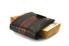 Dinheiro em uma bolsa Fotos de Stock