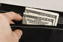 Dinheiro em uma carteira Fotografia de Stock