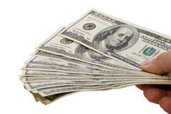 Dinheiro em uma mão Foto de Stock Royalty Free
