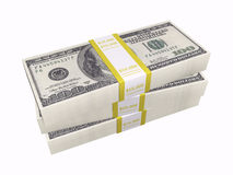 Dinheiro empilhado no fundo branco Fotografia de Stock Royalty Free