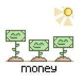 Dinheiro engraçado da arte do pixel Fotografia de Stock