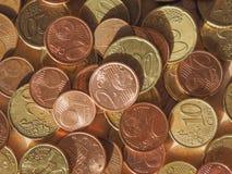 Dinheiro EUR das moedas do Euro fotografia de stock