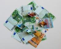 Dinheiro, euro, navio, dinheiro, contas Fotos de Stock Royalty Free