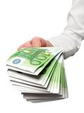 Dinheiro europeu à disposicão Foto de Stock Royalty Free