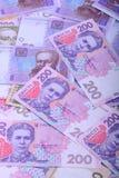 Dinheiro europeu, fim ucraniano do hryvnia acima Foto de Stock