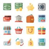 Dinheiro, finança, ícones lisos de compra Fotografia de Stock Royalty Free