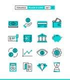 Dinheiro, finança, economias A planície e a linha ícones ajustaram-se, projeto liso ilustração do vetor