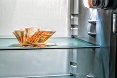 Dinheiro fresco no refrigerador Imagem de Stock Royalty Free