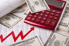 Dinheiro, gráfico e calculadora Foto de Stock