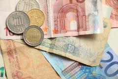 Dinheiro grego e euro- Imagens de Stock