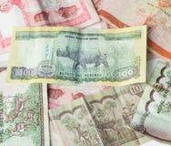Dinheiro indiano - moedas do banco de Nepal Rastra - notas das rupias de Nepal Imagem de Stock Royalty Free