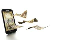 dinheiro indiano rendido 3D inclinado e isolado no fundo branco ilustração royalty free