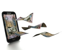 dinheiro jordano novo rendido 3D inclinado e isolado no fundo branco ilustração stock