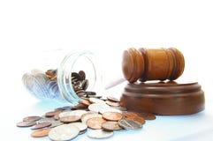 Dinheiro legal do gavel Foto de Stock Royalty Free