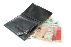 Dinheiro letão na carteira Fotos de Stock Royalty Free