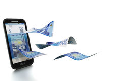 dinheiro marroquino rendido 3D inclinado e isolado no fundo branco ilustração stock