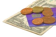 Dinheiro - moedas e nota de banco Imagens de Stock Royalty Free