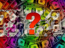 dinheiro, muitos dólares e um ponto de interrogação grande Fotografia de Stock Royalty Free