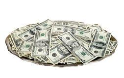 Dinheiro na bandeja de prata Fotografia de Stock Royalty Free