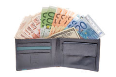 Dinheiro na bolsa Fotografia de Stock
