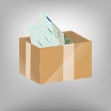 Dinheiro na caixa Imagens de Stock