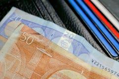 Dinheiro na carteira com cartões Fotografia de Stock