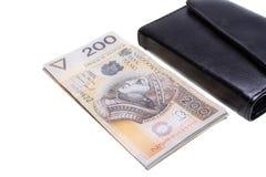 Dinheiro na carteira de couro Imagens de Stock Royalty Free