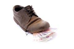 Dinheiro na sapata Imagem de Stock Royalty Free