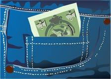 Dinheiro no bolso das calças de brim ilustração do vetor