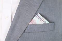 Dinheiro no bolso do revestimento Imagens de Stock