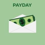 Dinheiro no envelope no fundo verde ilustração do vetor