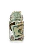 Dinheiro no frasco de vidro Imagens de Stock