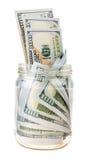 Dinheiro no frasco isolado no fundo branco Foto de Stock