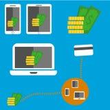 Dinheiro nos dispositivos Fotos de Stock Royalty Free