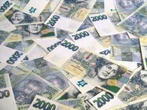 Dinheiro - notas checas das coroas Fotos de Stock