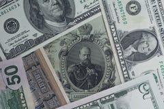 Dinheiro novo de dinheiro velho Imagens de Stock