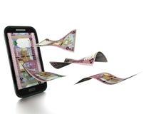 dinheiro omanense rendido 3D do rial inclinado e isolado no fundo branco ilustração stock