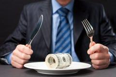 Dinheiro para o jantar Fotografia de Stock Royalty Free