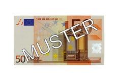 Dinheiro - parte dianteira da conta do Euro cinqüênta (de 50) com agrupamento alemão da rotulação (espécime) Imagem de Stock