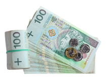 Dinheiro. Pilha de cédulas do zloty do polimento 100's Imagens de Stock Royalty Free