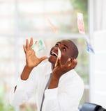Dinheiro que cai de acima Fotografia de Stock Royalty Free